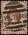 1891ca 5d barred Victoria Yv105 Mi115lilabraun SG317purple-brown.jpg