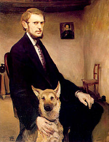 Self-portrait with Dog by Miroslav Kraljević