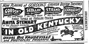 Nathan H. Gordon - Advertisement for Gordon's theatres in the Boston area, 1920