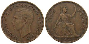 Penny (British pre-decimal coin) - A 1937 George VI penny. Note the change in design of the reverse, with the addition of the lighthouse and shield square which is not angled.