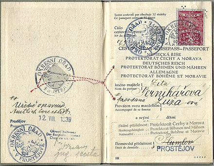 1939 amended Czechoslovakian passport to a Protectorate of Bohemia and Moravia sample. 1939 amended Czechoslovakian passport to a Protectorate of Bohemia and Moravia sample.jpg