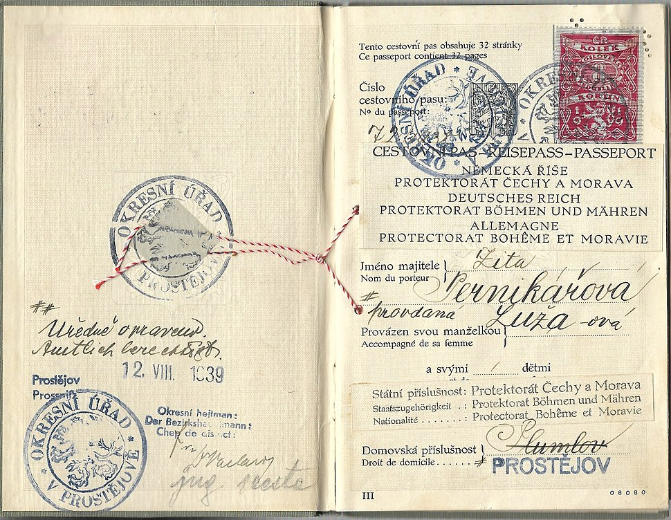 1939 amended Czechoslovakian passport to a Protectorate of Bohemia and Moravia sample