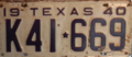 1940 Texas license plate K41*669.png
