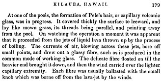 Pele's hair - First description by J. Dana, 1849