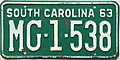 1963 South Carolina license plate.JPG