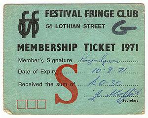 Edinburgh Festival Fringe - 1971 Festival Fringe Club Membership Card