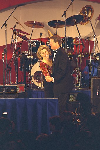 Vice President Gore and Tipper Gore, 1997 1997 Clinton Inaugural Ball- Vice President and Mrs. Gore Dancing.jpg