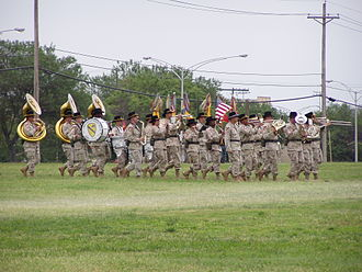 1st Cavalry Division (United States) - The 1st Cavalry Division Band during an Operation Iraqi Freedom 2 Color Uncasing Ceremony at Fort Hood, Texas in 2005.