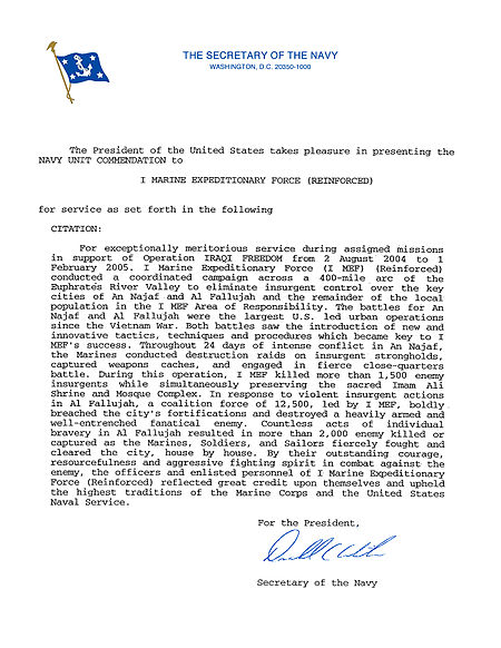 1st Marine Expeditionary Force (I MEF) Navy Unit Commendation Citation 2004-2005 Iraq.jpg