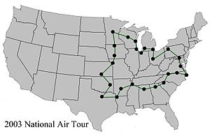 Ford National Reliability Air Tour - 2003 National Air Tour route