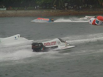 Formula 1 Powerboat World Championship - F1 powerboats at the 2004 Grand Prix of Singapore.