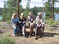 2005. Plant pathologists Kristen Chadwick, Helen Maffei, Lew Roth, and Jim Barrett(?) at the Lewis Roth Dwarf Mistletoe Trail dedication. North Twin Lake, Deschutes National Forest, Oregon. (39590309502).jpg