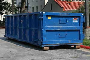 Roller container - Low height blue Allied Waste rolloff container.