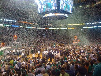 2008 NBA Finals - Boston Celtics fans, players, coaching personnel, and staff celebrate the franchise's 17th title on June 17
