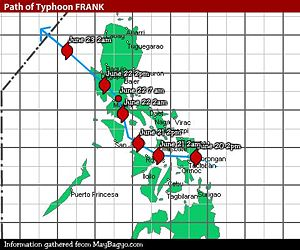Typhoons in the Philippines - Map of the path of Typhoon Frank, showing it making landfall in the Eastern Visayas before taking a northwesterly path