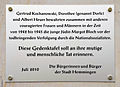 2010-07, Gedenktafel Gertrud Kochanowski, Dorothee (Dorle) und Albert Heuer (sowie Erika und Herbert Patzschke) bewahrten 1942-45 die Jüdin Margot Bloch vor den Nationalsozialisten, Rathaus Hemmingen, Westerfeld.jpg