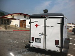 American Red Cross trailer in front of Etna High School