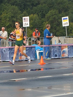 Jared Tallent - Jared at the 2013 World Championships in Moscow, 50 km walk race