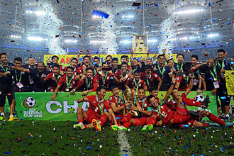 Thailand national football team - Thailand national team celebrating after winning the 2014 AFF Suzuki Cup at Bukit Jalil National Stadium, Malaysia.