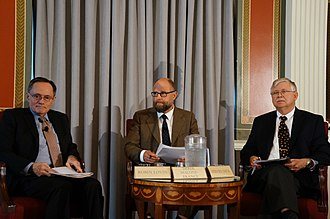 Astrobiology - In June 2014, the John W. Kluge Center of the Library of Congress held a seminar focusing on astrobiology. Panel members (L to R) Robin Lovin, Derek Malone-France, and Steven J. Dick