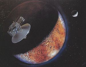 Pluto Kuiper Express - Artist's vision of Pluto Fast Flyby approaching Pluto's mottled surface. A tenuous, transient atmosphere is visible as blue haze beyond the bright limb while Pluto's companion Charon looms in the distance.