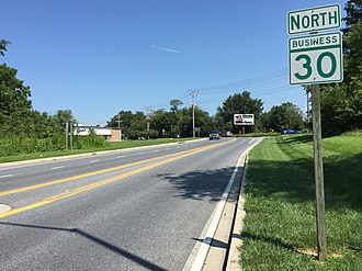 Maryland Route 30 - View north at the south end of MD 30 Bus