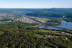 An aerial view of Prince George