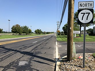 New Jersey Route 77 - View north along Route 77 just north of Northwest Street in Upper Deerfield Township