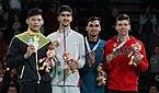 2018-10-11 Victory ceremony (Taekwondo Boys +73kg) at 2018 Summer Youth Olympics by Sandro Halank–042.jpg
