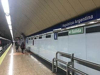República Argentina (Madrid Metro) - Image: 201803 Platform of República Argentina Station