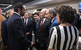 Saad Hariri - Hariri with Vladimir Putin, Nikol Pashinyan and Shavkat Mirziyoyev at the FIFA World Cup in Russia, 14 June 2018