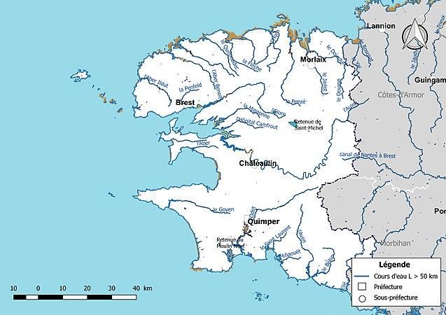 Carte Bretagne Cours Deau.Reseau Hydrographique Du Finistere Wikipedia
