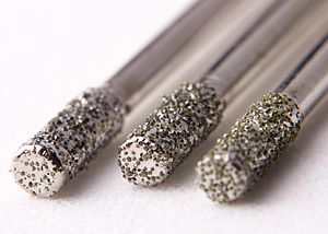 Drill bit - Diamond-coated 2 mm bits, used for drilling materials such as glass