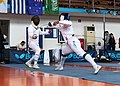2nd Leonidas Pirgos Fencing Tournament. The fencer Ahmed Alhoussain performs a lunge.jpg