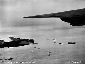389th Strategic Missile Wing - Consolidated B-24 Liberators of the 389th Bomb Group on a mission over enemy-occupied territory.