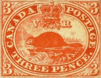 Canadian pound - An 1851 Canadian postage 3d-denominated postage stamp in pounds, shillings, and pence units of the Halifax rating