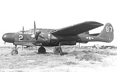 420th Night Fighter Squadron YP-61 at RFC Ontario 1945.jpg