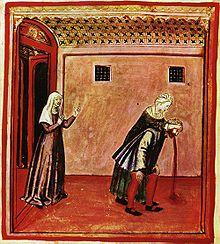 Un dessin Renaissance avec des couleurs vives représentant une femme tenant la tête d'un homme, qui se pencha et l'expulsion d'un matériau brun-rouge de sa bouche.  Une deuxième femme se tient debout à gauche de l'image dans la porte de la chambre, et semble offrir un soutien.  Une représentation grossière de vomissements.