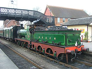 Tender (rail) - A British SECR O1 class runs tender-first at the Bluebell Railway