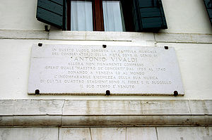 Venice, plaque commemorating composer Antonio ...