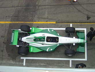 A1 Grand Prix - A1 Team Pakistan and their seat holder Adam Khan during a pit stop.