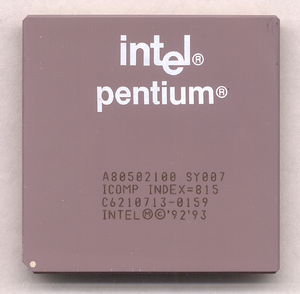 Pentium - A 100 MHz Pentium processor manufactured in 1996