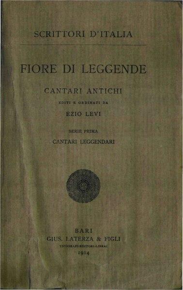 File:AA. VV. – Fiore di leggende, Cantari antichi, 1914 – BEIC 1818672.pdf