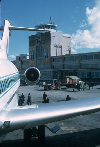 El Alto International Airport - The airport during the 1960s. A LAB Boeing 727-100 is seen in the foreground with the old terminal and its iconic Inca façade in the background.
