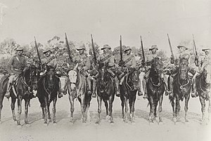 Military history of Australia during the Second Boer War - South Australian mounted rifles training near Adelaide, c. 1900, prior to deploying to South Africa