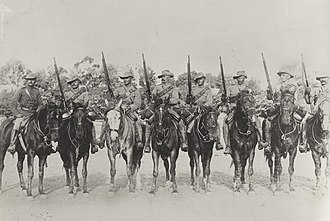 South Australian Mounted Rifles - 2nd South Australian Mounted Rifles training in Adelaide, prior to deployment to South Africa, early 1900. Trooper Harry Morant is third from left.