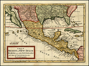 Name of Mexico - Antique map of New Spain also called Mexico, 1708