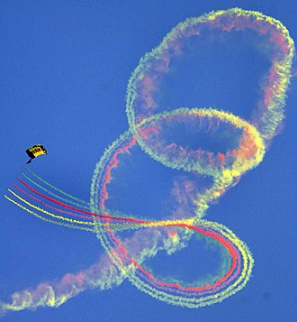 Colored smoke - A U.S. Navy parachutist at the 2005 X Games.