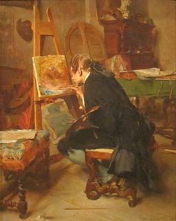 A Painter, oil on mahogany painting by Ernest Meissonier, 1855