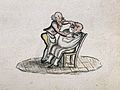 A barber shaving a man. Watercolour painting. Wellcome V0019644EL.jpg